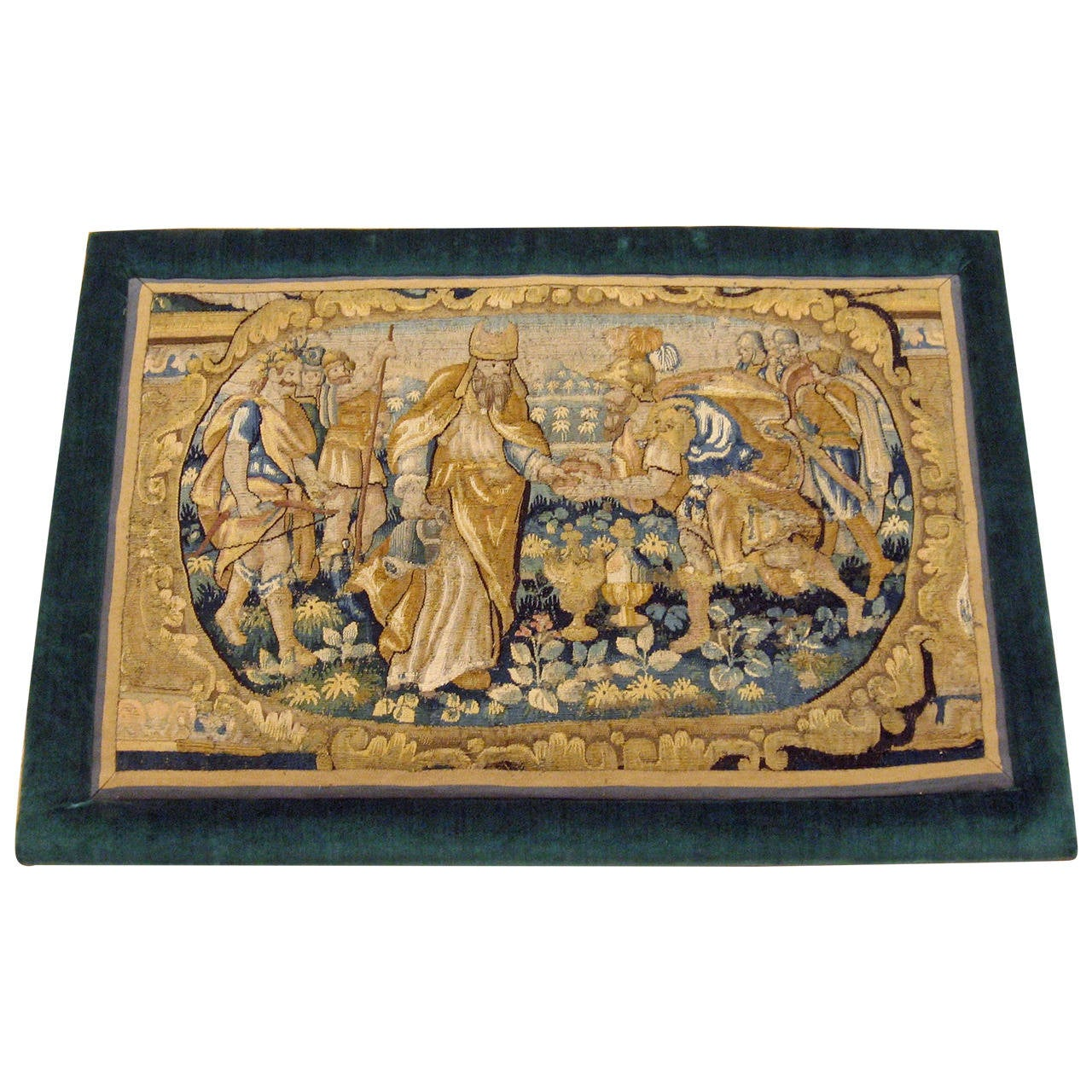 Antique 18th Century Flemish Historical Tapestry with a King, on a Velvet Frame