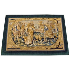 Antique 18th Century Flemish Historical Tapestry, with a King, on a Velvet Frame
