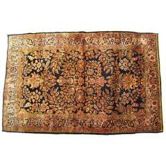 Antique Persian Sarouk Oriental Rug with Floral Design, Small Size, circa 1910