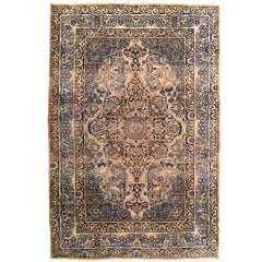 Antique Persian Lavar Oriental Rug, in Small Size with Medallion & Corner Design