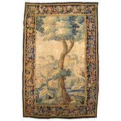Antique 18th Century Flemish Verdure Landscape Tapestry Panel, Foliate Border