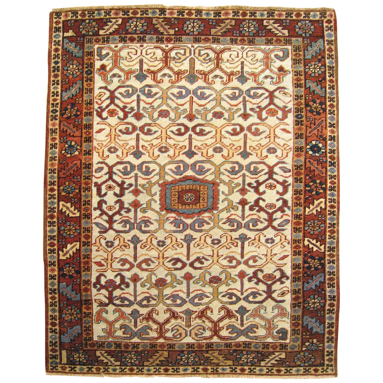 Antique Persian Heriz Oriental Rug, Small Size, W/ Repeat Design On Ivory  Field