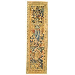 Antique 18th Century Flemish Tapestry Panel w/ a Mythological Fate Amid Flowers