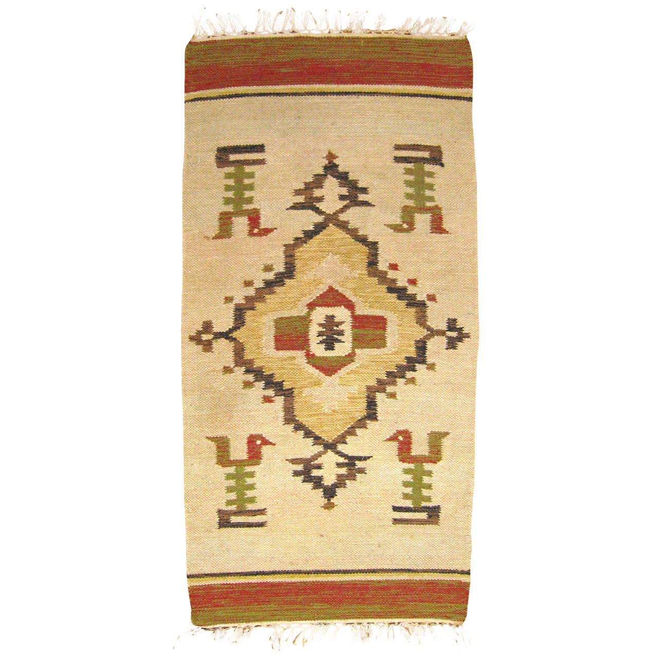 Vintage Mexican Zapotec Decorative Carpet In Small Size W