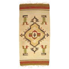 Vintage Mexican Zapotec Decorative Carpet, in Small Size w/ Stylized Bird Design