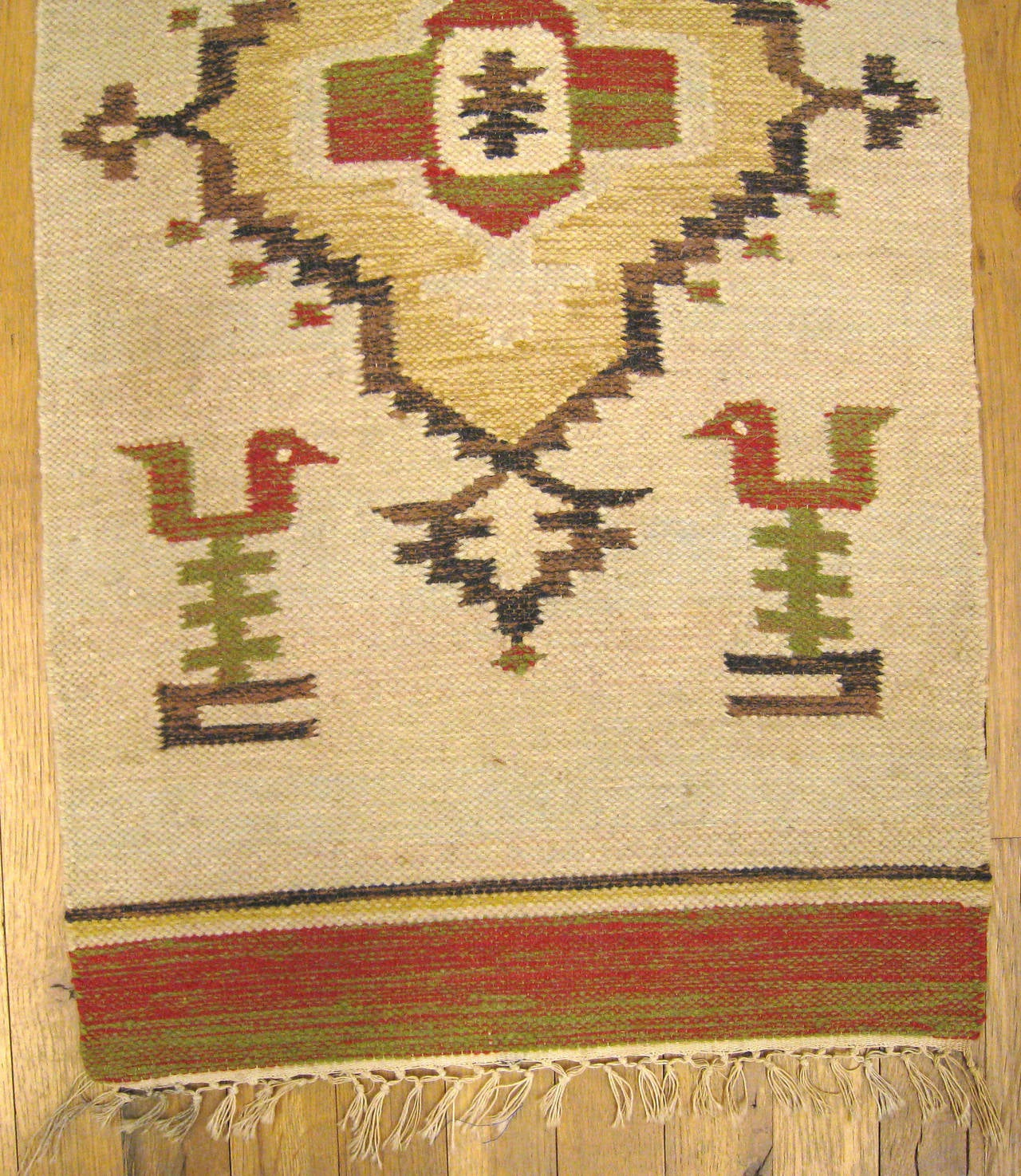 Vintage Mexican Zapotec Rug In Small Size With Stylized