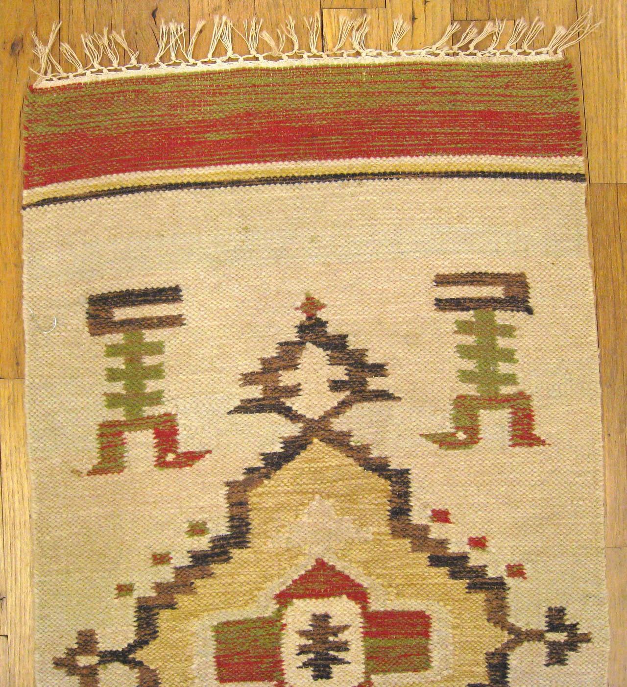 Vintage Mexican Zapotec Decorative Carpet, In Small Size W