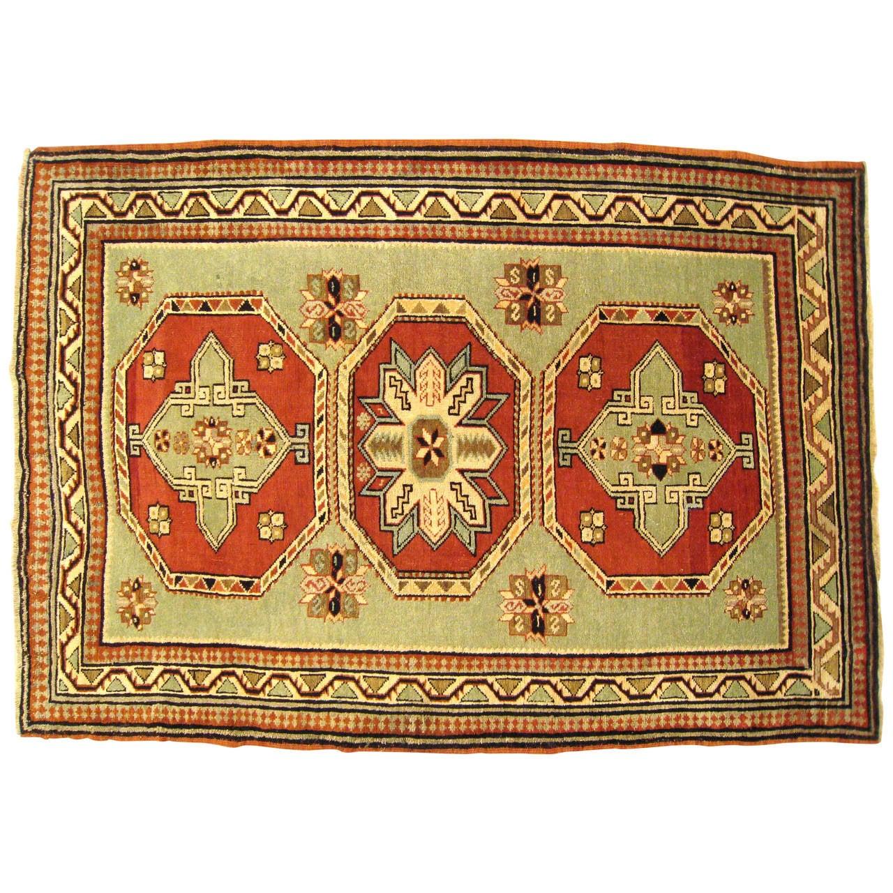 Antique Caucasian Kazak Oriental Rug, In Small Squarish