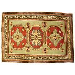 Antique Caucasian Kazak Oriental Rug, in Small Squarish Size w/ Green Background