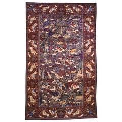 Antique Persian Kerman Hunting Design Oriental Carpet, circa 1890