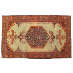 Antique Persian Ferahan Oriental Rug, in Small Size with Medallion & Spare Field
