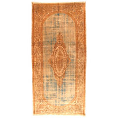 Antique Savonnerie Style Persian Kerman Oriental Rug Distressed with Soft Colors