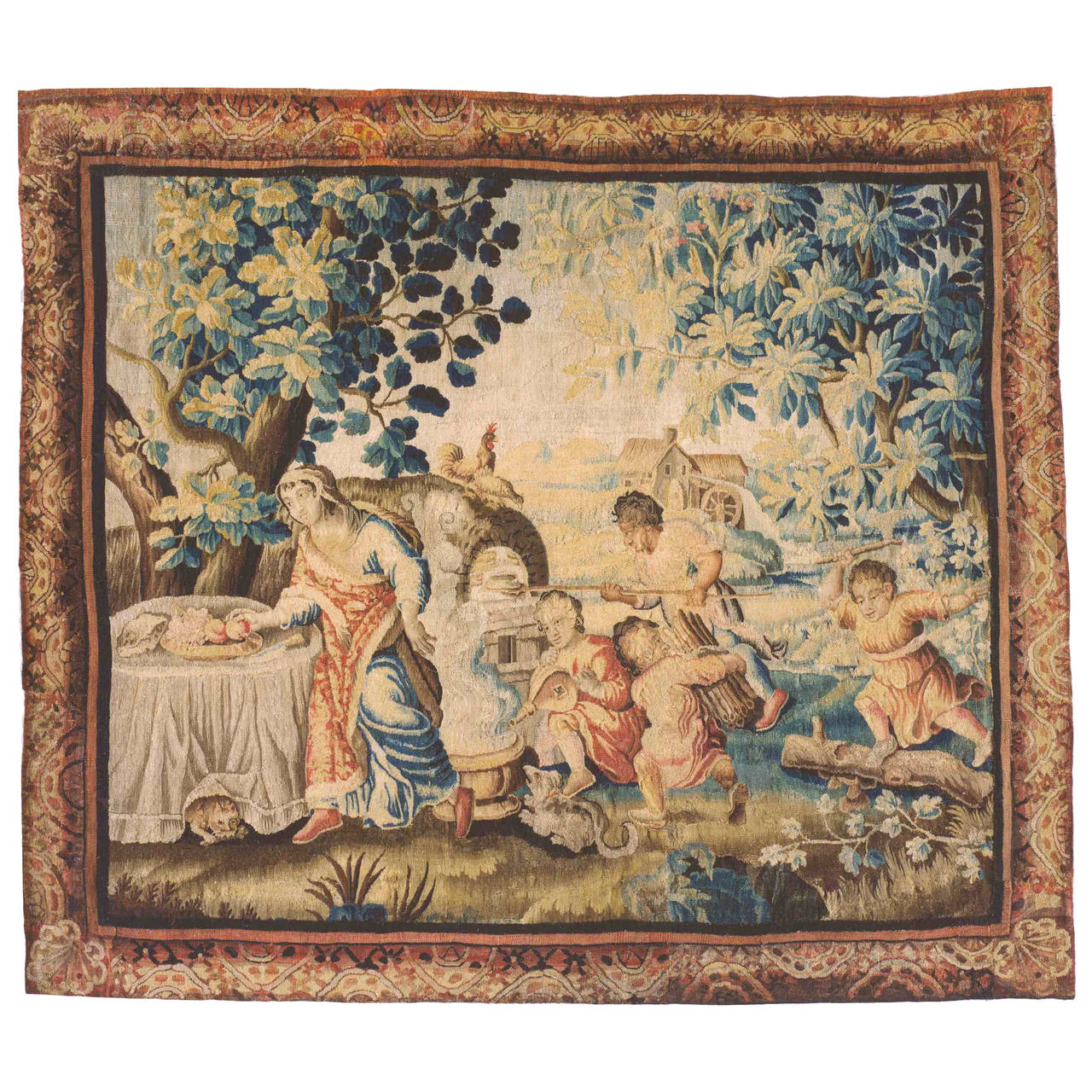 Antique 18th Century French Aubusson Rustic Tapestry of a Family Preparing Lunch