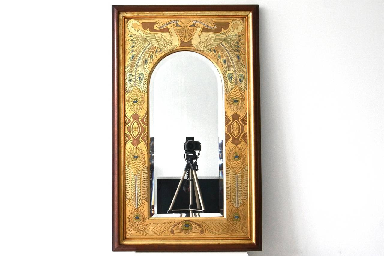 spectacular art nouveau mirror with peacocks for sale at 1stdibs. Black Bedroom Furniture Sets. Home Design Ideas