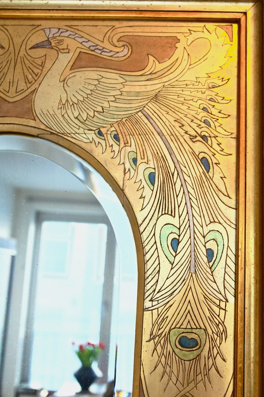 Spectacular Art Nouveau Mirror With Peacocks For Sale At