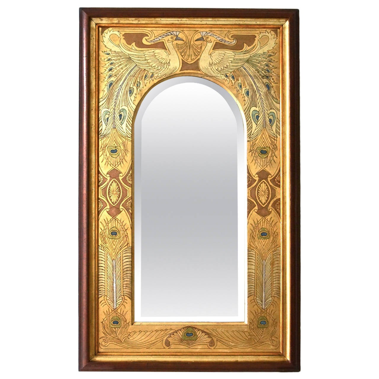 Spectacular art nouveau mirror with peacocks for sale at for Mirrors for sale