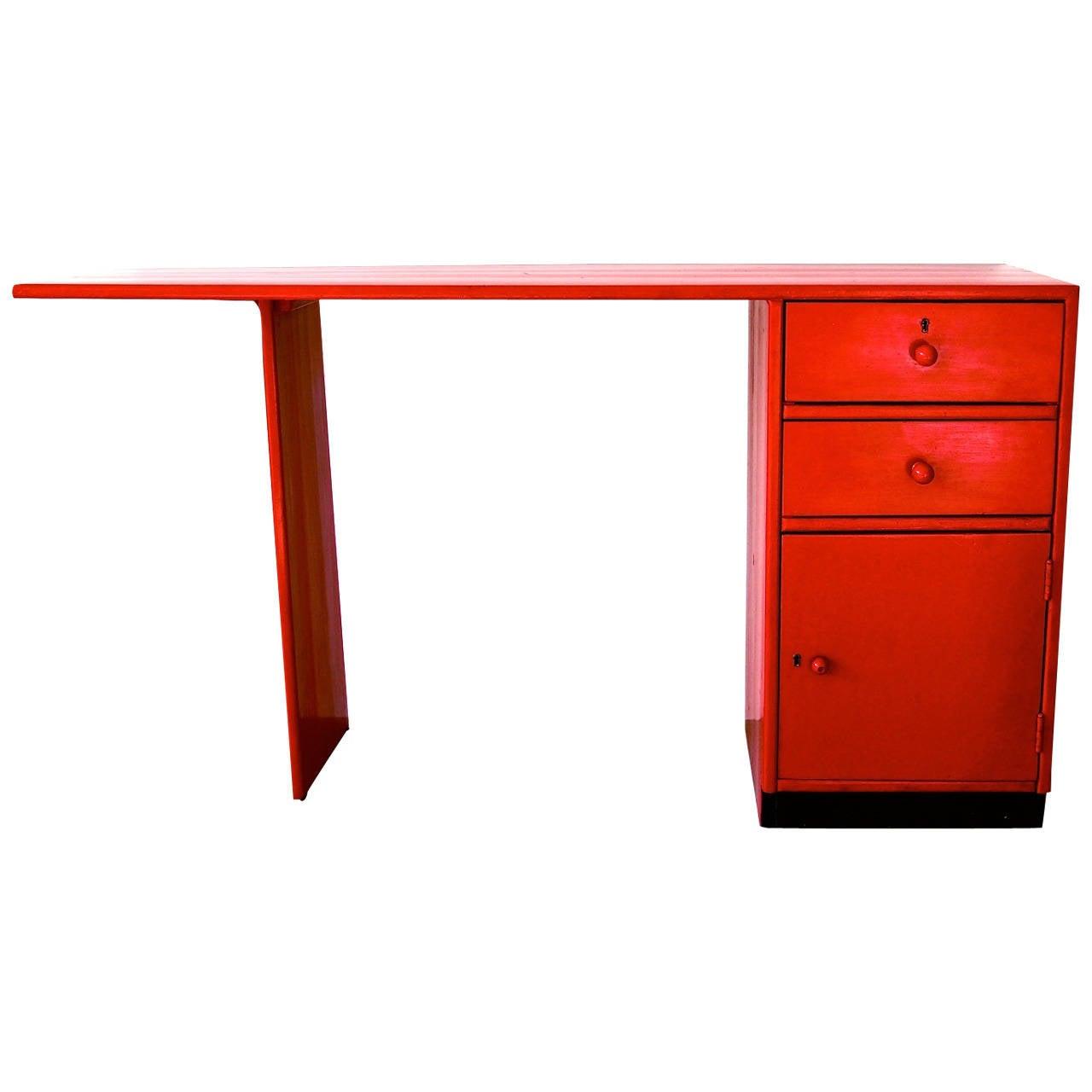 Ladiesu0027 Writing Desk By Gerrit Rietveld In Red Painted Wood, ...