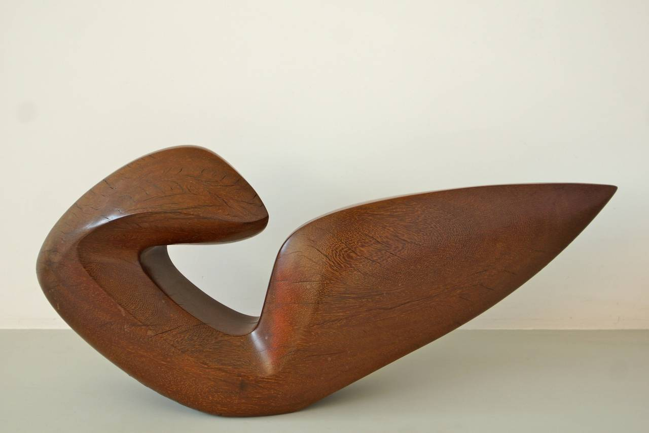 Beautiful Abstract 1950s Teak Sculpture by Dolf Breetvelt 2
