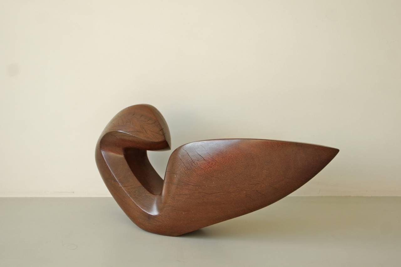 Beautiful Abstract 1950s Teak Sculpture by Dolf Breetvelt 4