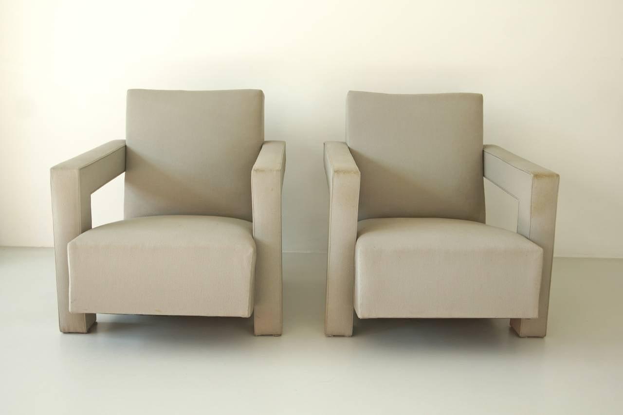Gerrit rietveld furniture - Set Of Utrecht Upholstered Armcharis Gerrit Rietveld 2
