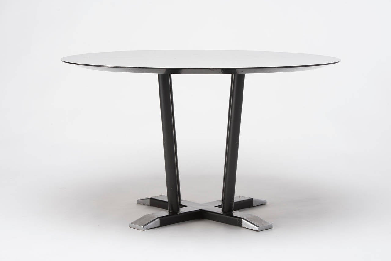 Dining table on metal support wooden top painted black for Dining table support