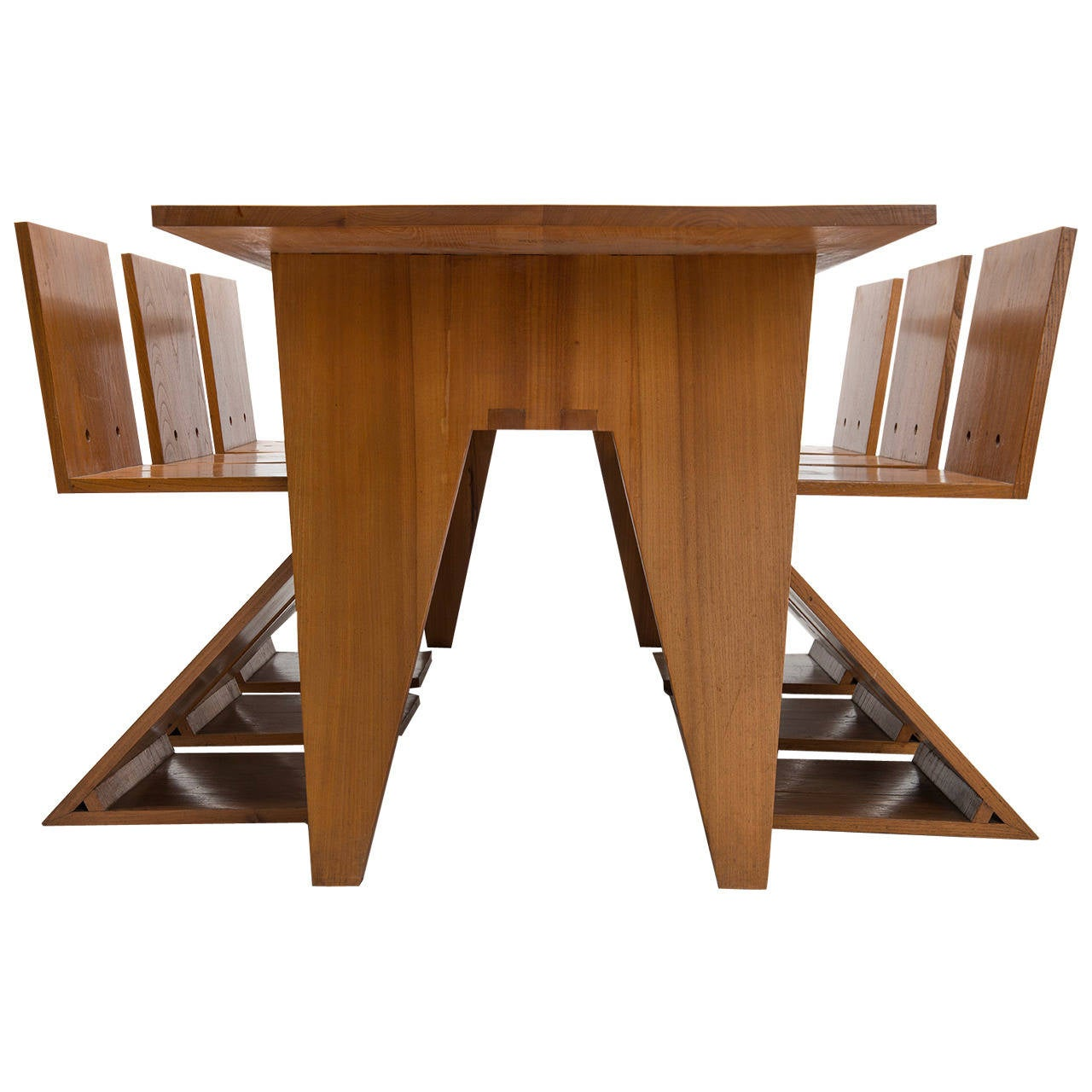Dining Table With Three Extension Leaves And Six Matching: Zigzag Table With Six Matching Zigzag Chairs For Sale At