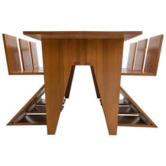Zigzag Table with Six Matching Zigzag Chairs
