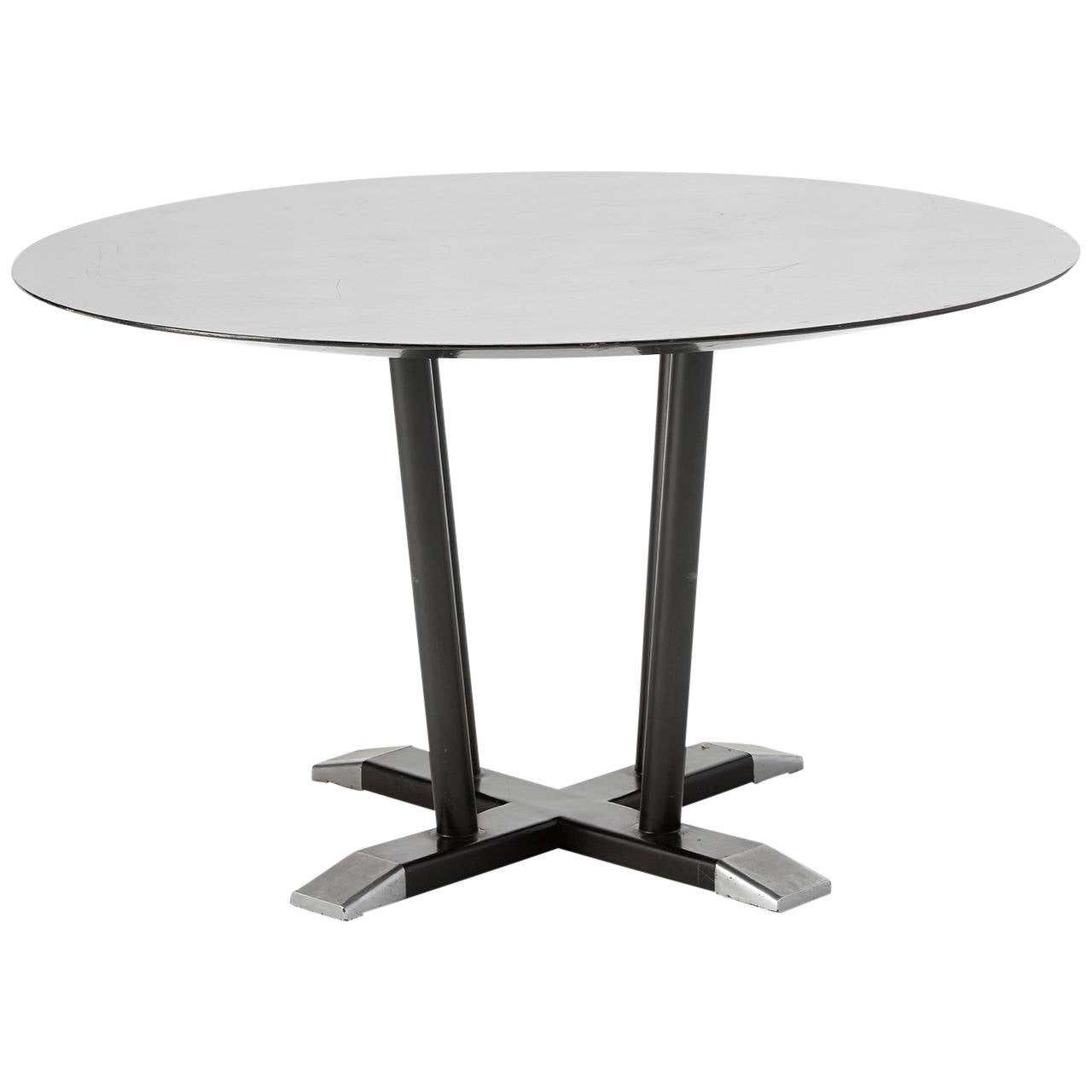 Dining Table On Metal Support Wooden Top Painted Black W. H. Gispen . Full resolution  photograph, nominally Width 1280 Height 1280 pixels, photograph with #575350.