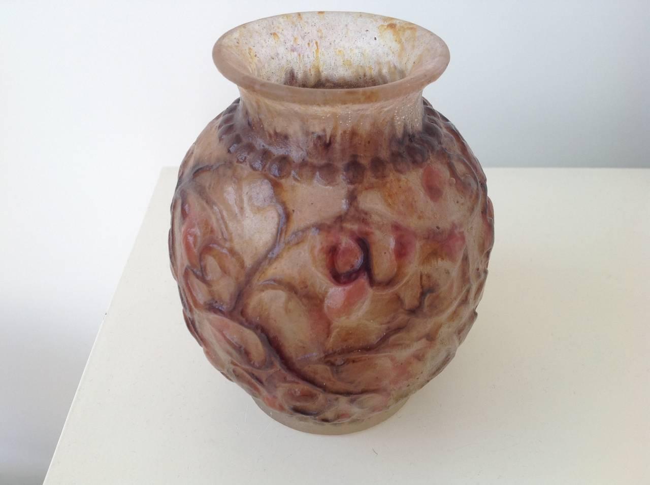 art deco vase p te de verre by gabriel argy rousseau for sale at 1stdibs. Black Bedroom Furniture Sets. Home Design Ideas