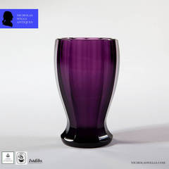 A late 19th century Bohemian Glass Purple Faceted Goblet