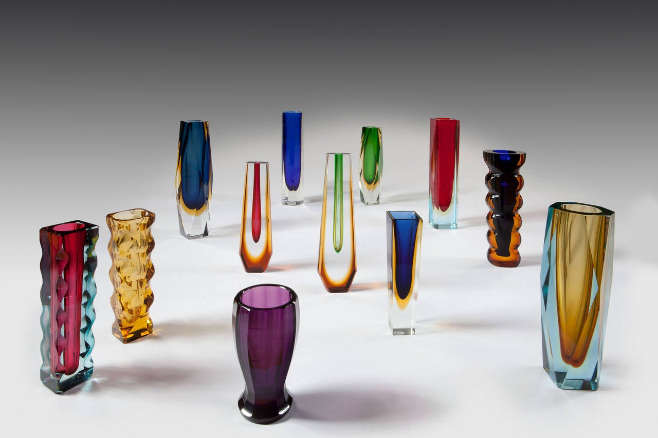 Three Mid Century Czech Murano Style Sommerso Cut Glass Vases At 1stdibs