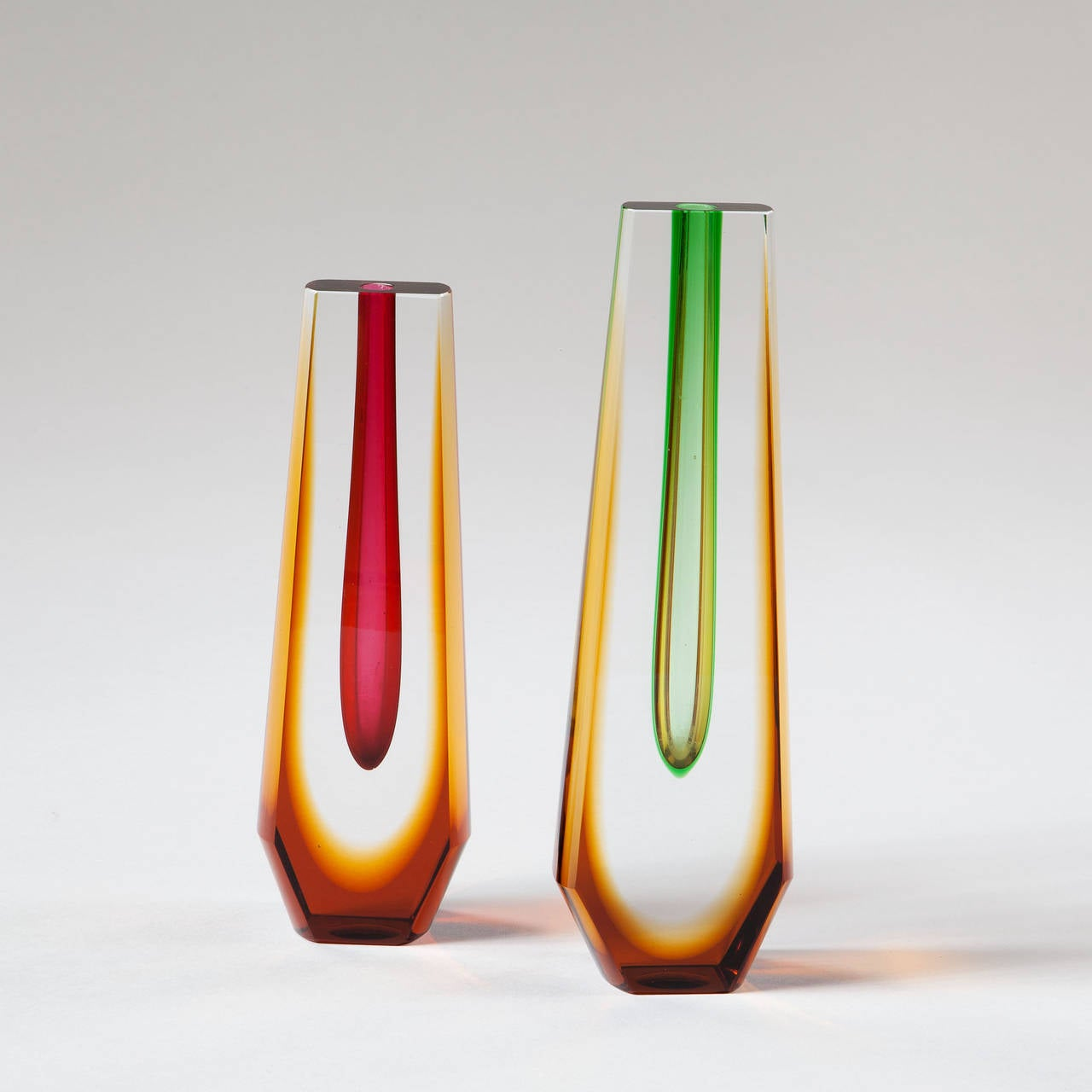 20th Century Two Czech 1960s Sommerso Style Coloured Vases