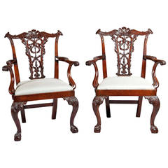 Fine Pair of Chippendale Mahogany Dining Chairs