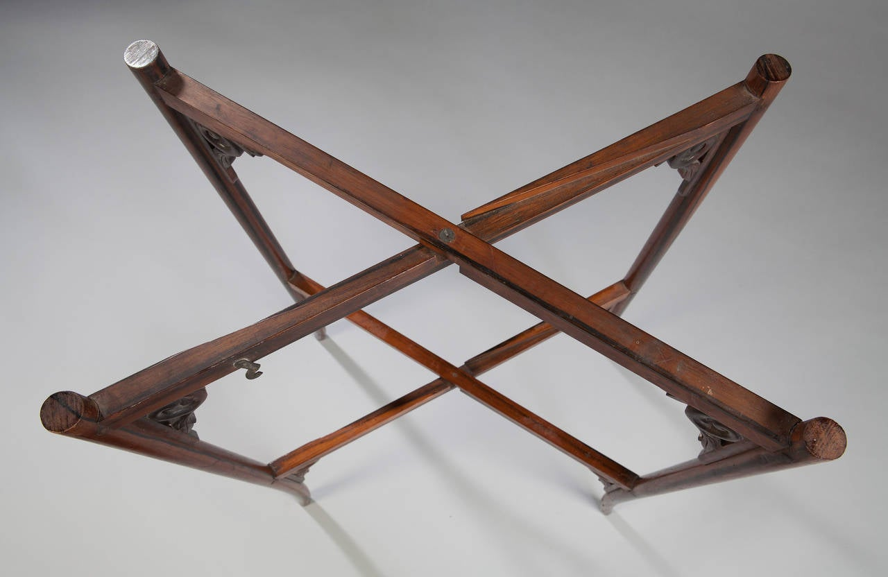 19th Century Calamander Wood Folding Campaign Table For Sale