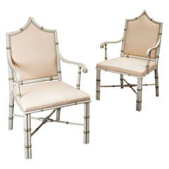 Pair of Cream-Painted Gothic Armchairs Attributed to Colefax and Fowler
