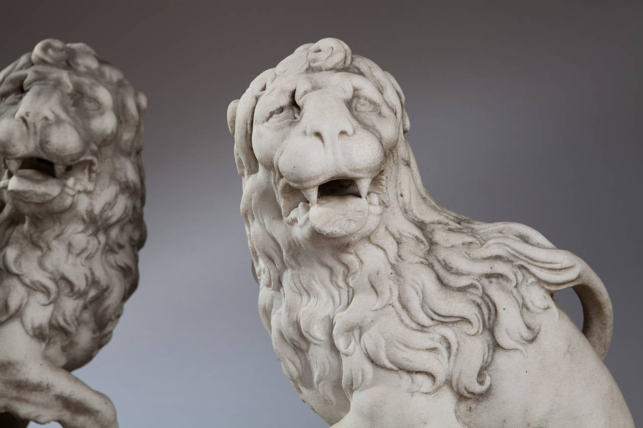 Pair of Outdoor Beige Marble Lion Yard Statues for