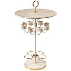 "Unusual Mid-Century White ""Craquelle"" Decorated Wine Table"