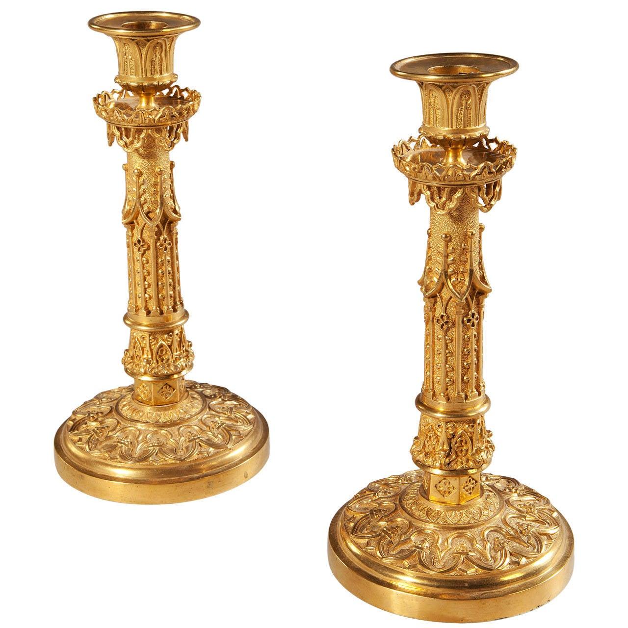 Pair of Charles X gilt-bronze candlesticks, 1825