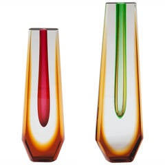 Two Czech 1960s Sommerso Style Coloured Vases