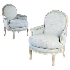Pair of Grey Painted Louis XV French Bergere Armchairs