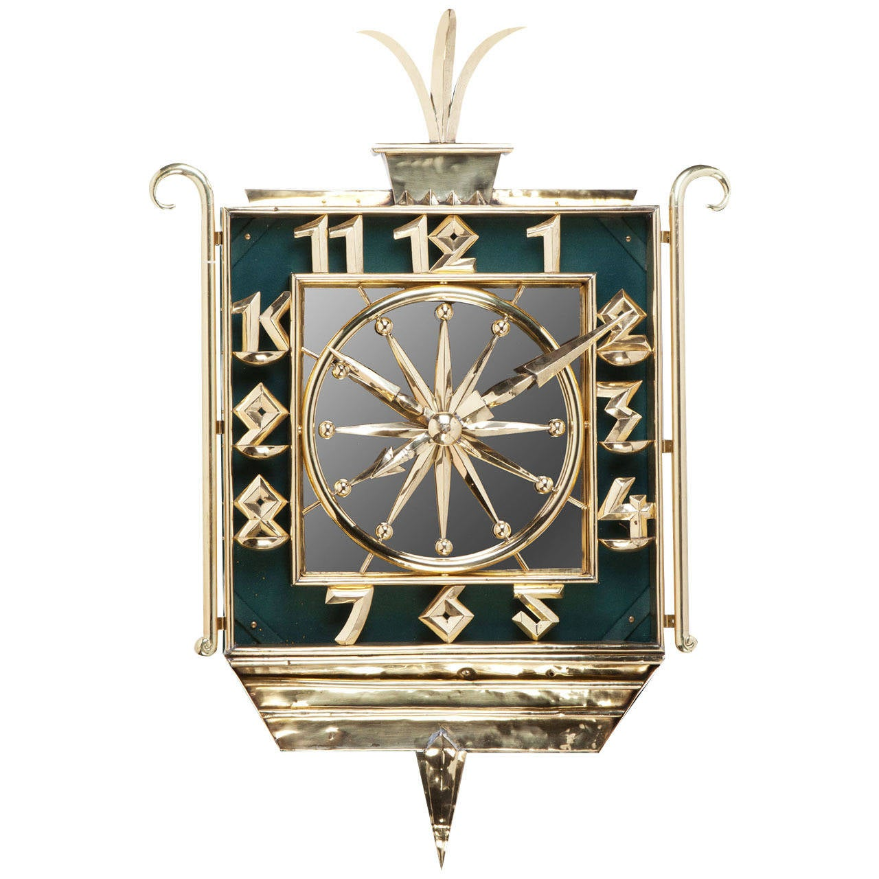 Art Deco Brass And Mirrored Wall Clock At 1stdibs
