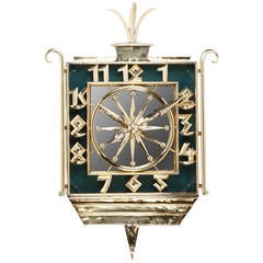 Art Deco Brass and Mirrored Wall Clock