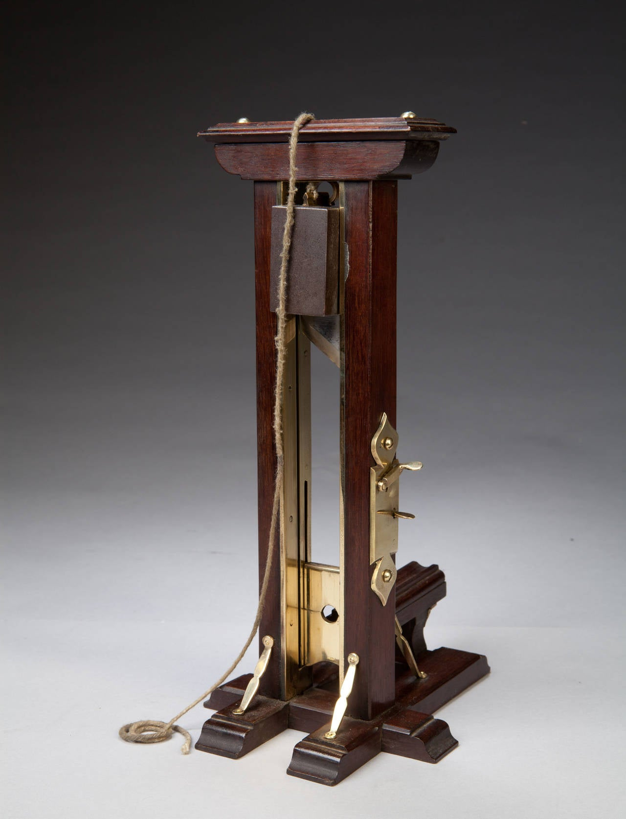 19th Century Ile du Diable Prisoner of War Mahogany and Brass Cigar Cutter For Sale
