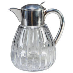 Large Scale Edwardian Cut-Glass and Silver Plate Lemonade Jug