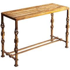 Modernist Gilt Iron Side Table