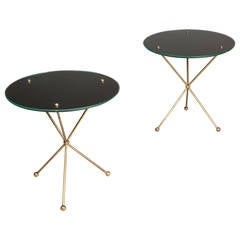 Pair of Brass and Glass Mid-Century End Tables