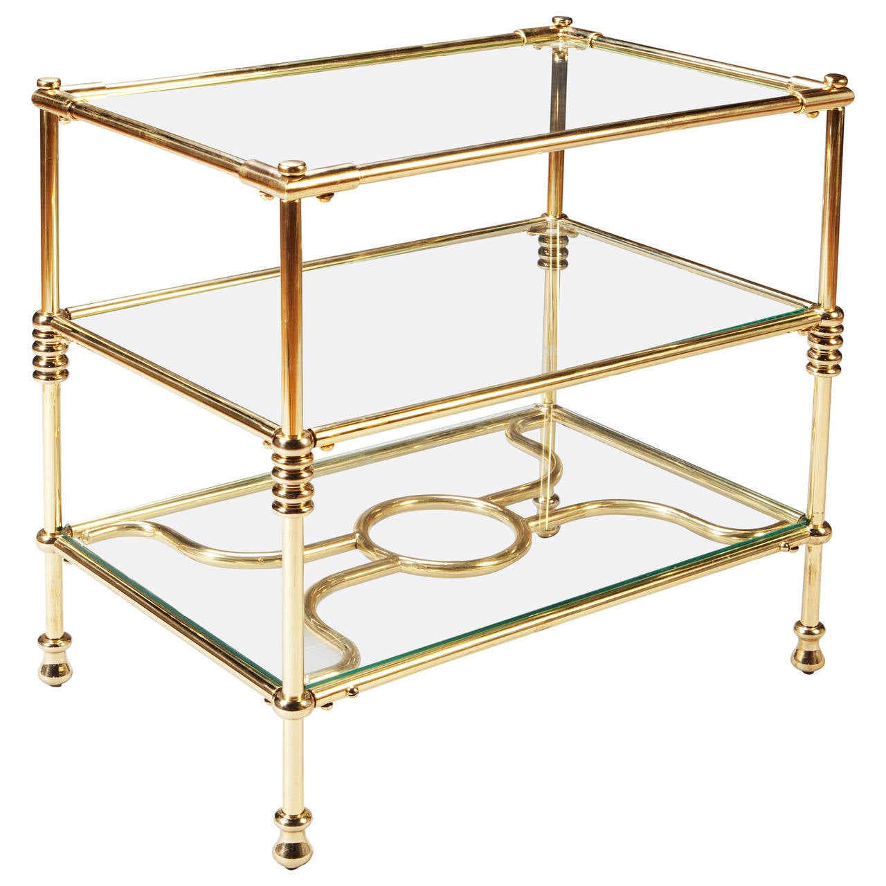 fine polished brass three tiered etagere side cocktail table for sale at 1stdibs. Black Bedroom Furniture Sets. Home Design Ideas