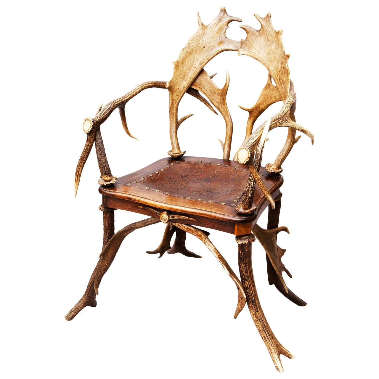 Rustic Red Stag And Fallow Deer Antler Armchair Chair For Sale