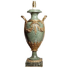 Green Marble and Ormolu French Lamp Base