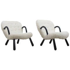 "Pair of ""Clam Chairs"" by Philip Arctander, Denmark, 1940s"